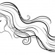 Woman with curly hair, vector - Stock Vector