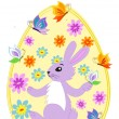 Stock Vector: Easter Bunny painting Easter Eggs