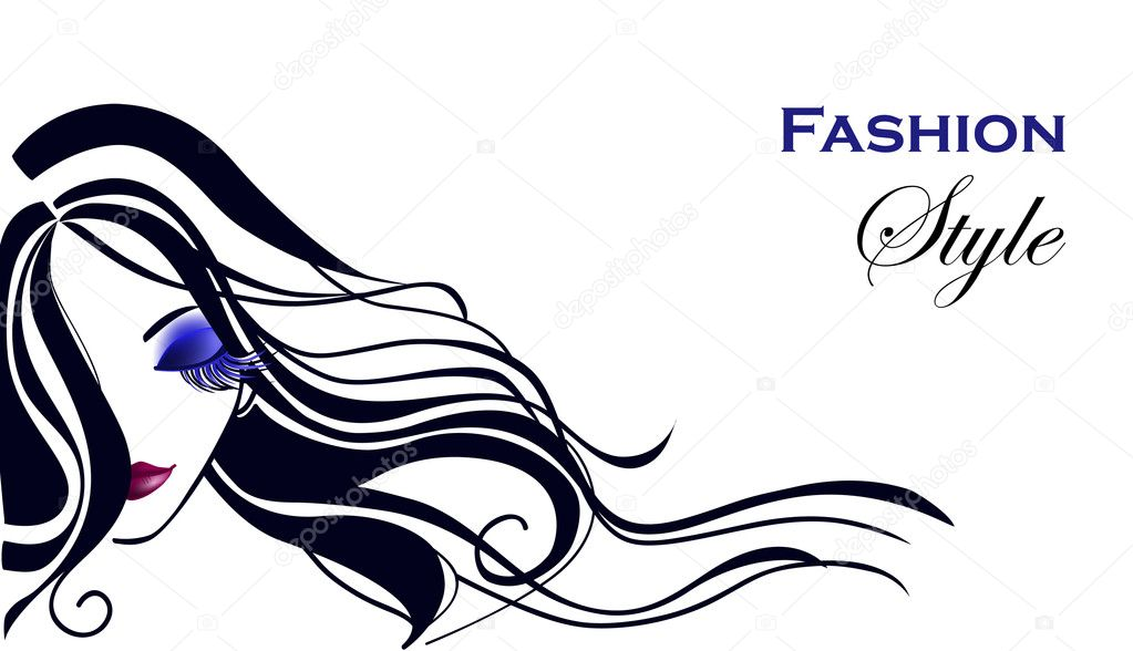 Beautiful girl with long hair — Stock Vector #9809648