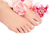 French pedicure — Stock Photo