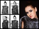Girl in fur — Stock Photo