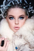 Woman in fur — Stock Photo