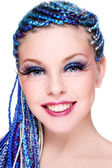 Beauty with blue hair — Stock Photo