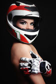Woman in biker helmet — Stock Photo