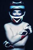 Woman in biker helmet — Stock Photo