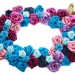 Valentines frame of blue, vinous, pink and turquois -  