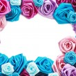 Valentines frame of blue, vinous, pink and turquois - Stock fotografie