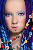 Blue dreads — Stock Photo