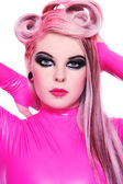 Pink catsuit — Stock Photo
