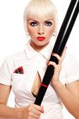 Girl with baseball bat — Stock Photo
