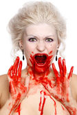 Bloody crying woman — Stock Photo
