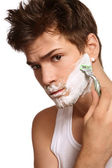 Shaving man — Stock Photo