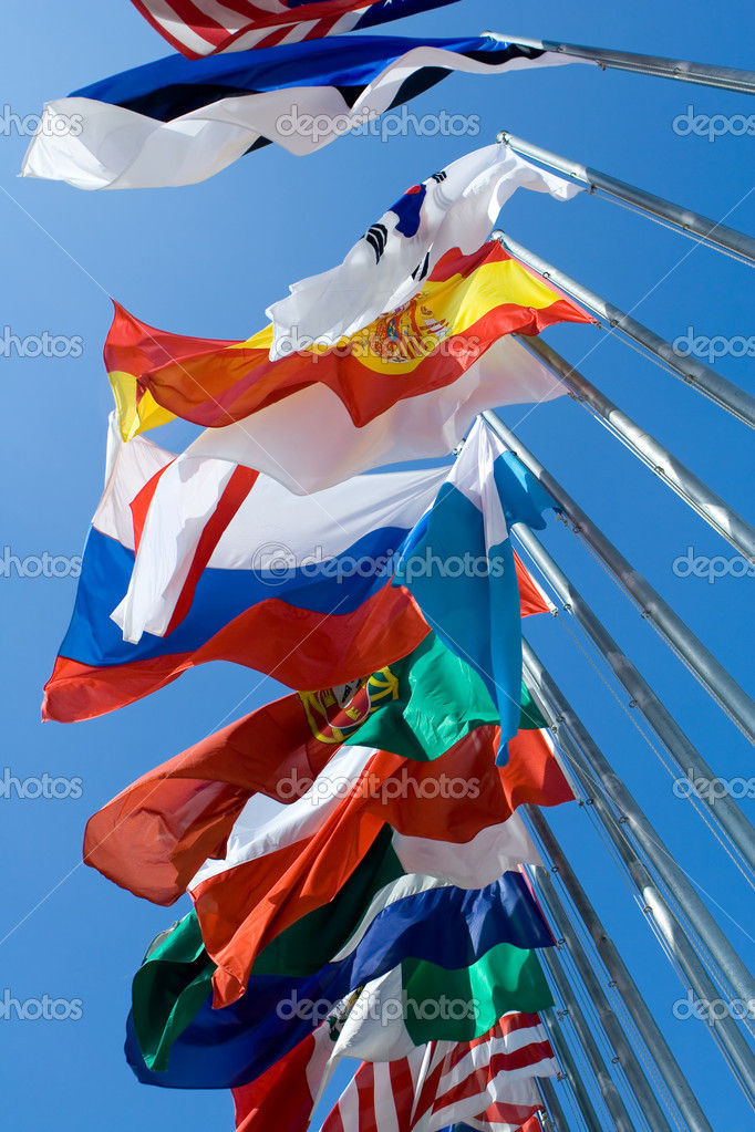 International Flags Blowing in the Wind — Stock Photo #8639922