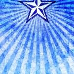 Постер, плакат: Propaganda Star Blue Light Rays Background