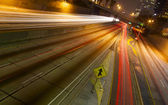 Angled Time Lapse over Freeway Traffic — Stock Photo
