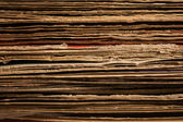 Close up of Stacked Old Vinyl LP Covers — Stock Photo