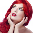 Red Hair woman. Fashion Girl Portrait. Sexy young looking at top — Stock Photo