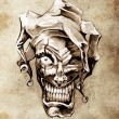Fantasy clown joker. Sketch of tattoo art over dirty background — Stock Photo