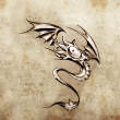 Stock Photo: Funny little dragon. Sketch of tattoo art, stylish fantasy monst