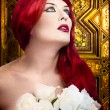 Gothic woman, faith concept. Red hair beautiful girl over medie — Stock Photo