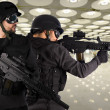 Stock Photo: Defense against terrorism, two soldiers at airport