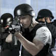 Police against terrorism, two soldiers at a business building — Stock Photo