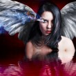 Stock Photo: Angel angry, girl with burning eye over blood water reflection