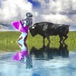Постер, плакат: Spanish Bullfight with water reflection Matador in Ring with Bu
