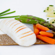 Diet meal, asparagus with carrots and sea food — Foto Stock