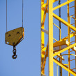 Yellow Crane against Blue Sky , tower with hook — Stock fotografie