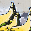 Amazing yellow grafitti — Stok fotoğraf