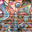 Stock Photo: Colorful segment of graffiti in Madrid, Spain