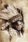 Indian Head Chief Illustration. Sketch of tattoo art, over vinta — Stock Photo