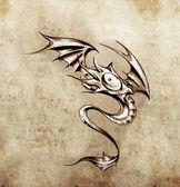 Komik küçük Ejder. dövme sanatı, şık fantezi monst kroki — Stok fotoğraf