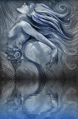 Nude mermaid illustration in blue colors with shine effects over — Stock Photo
