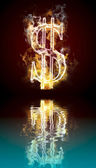 Dollar symbol burning, fire with reflection in water — 图库照片
