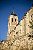 Church bell tower, rural landscape, Spain — Stock Photo