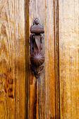 Closeup houten deur met getextureerde materiaal — Stockfoto