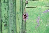 Zielone drzwi zardzewiały — Zdjęcie stockowe