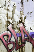 Fragment of urban graffiti close-up, dirty texture — Stock Photo