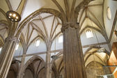Cathedral nave, a space with Gothic-style columns — Stock Photo