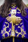 Procesión del cristo de medinaceli, detalles de las manos — Foto de Stock