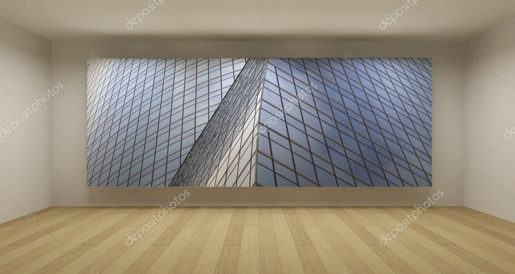 Empty room with modern glass building picture 3d art for Modern cleaning concept