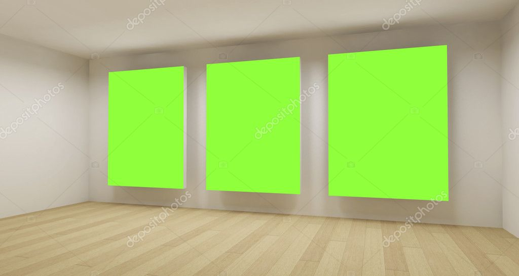 Medical room, 3d art with empty space, green chroma key — Stock Photo #10112239
