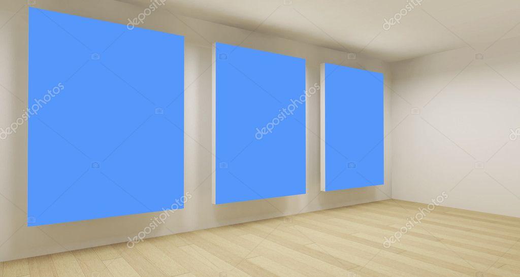 saubere businesszimmer leere 3d raum mit drei blauen chroma keyframes stockfoto. Black Bedroom Furniture Sets. Home Design Ideas