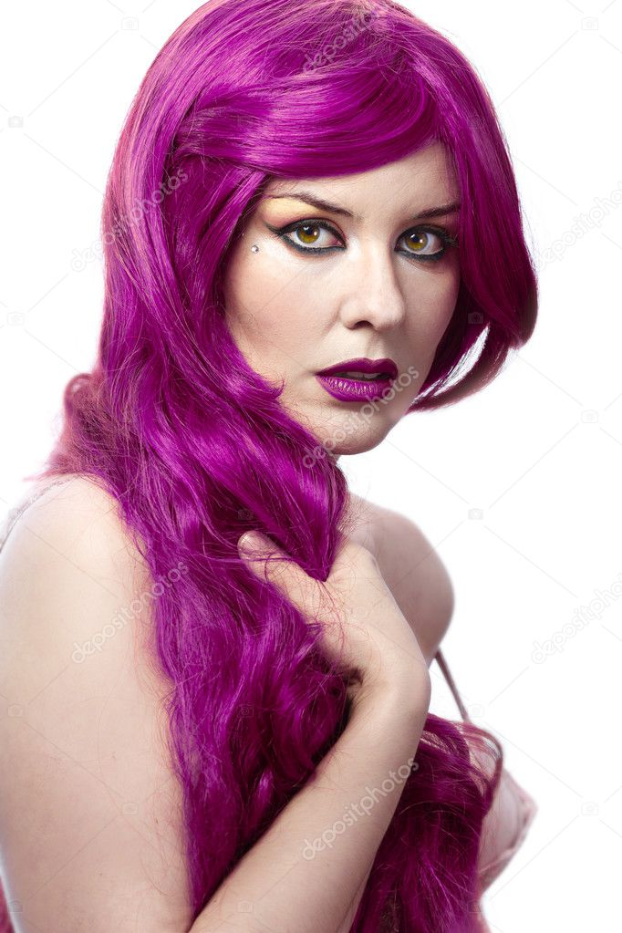 beautiful sexy woman with magnificent purple hair over