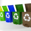 Recycle bins in yellow,green,blue and brown — Stock Photo