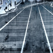 Railway over old dirty wall, urban hip hop background Gray textu — Stock Photo