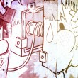 Graffiti over old dirty wall, urban hip hop background Gray text — Стоковая фотография