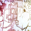 Graffiti over old dirty wall, urban hip hop background Gray text — Foto de Stock
